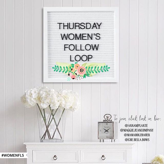 Join our Women Follow Loop! 👩 Open to ALL women! (Shop owners, reps, bloggers, moms, etc). 1.Follow @maggiejeancompany @che.bella.bows @annamplante @mamaholzhauer and click the link in their bio to join our Telegram (and receive the script and picture for this loop) 2.Tap on #WomenFL5 3.Follow everyone under the hashtag 4.Comment 🐘 on everyone that you follow Allow 24 hours for a followback . DO NOT follow to unfollow or use a repost app. You must join the telegram to participate in this loop and receive the script and picture! . #followloop #followforfollow #followtrain #thursday #blogger #influencer #shopsmall #brandrep