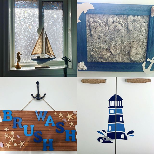 I've been redecorating my kids' bathroom with a nautical theme. I love DIY so here is what I did. 1. I got rid of the old blinds and bought Rabitgoo static film from @amazon for the window. They love the rainbows 🌈 that shine all over when the light hits it! 2. I used plaster of Paris to make sand molds of their footprints and if you look closely you can see my dog and cat's prints too! I then framed it and hung it up. 3. I bought a plain driftwood sign and letter from @michaelsstores and stained and painted them. I also glued on shells 🐚 we picked from the beach 🏝 The hook is also from Michaels. 4. I covered the cupboard handles with twine and cut a decal in half so that it opens with the cupboard. More in my next post 😄 I love playing with ideas and working with my hands! Can't wait to share more of my DIYs like my husbands bar backsplash 🍸 #diy #decor #nautical #kidsbathroom #beach #footprints